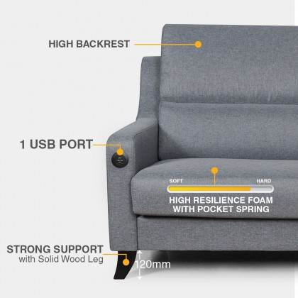 2+3 Seater Sofa (S3127) with USB Port | Water Repellent Fabric (Delivery by Own Logistic)