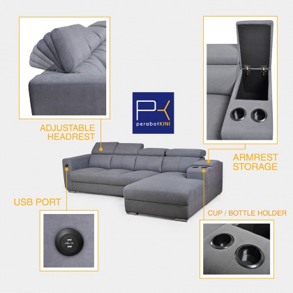 4 Seater L Shape Fabric Sofa (S7128) with USB Port (Delivery by Own Logistic)