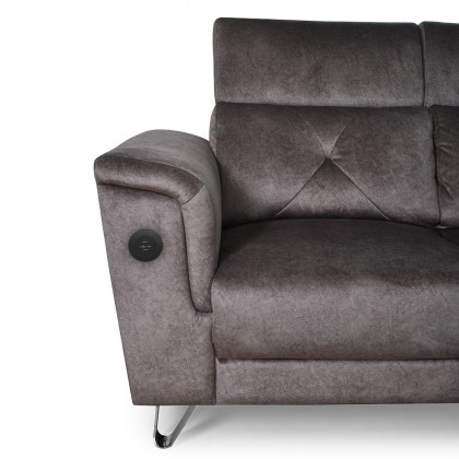 11ft Corner Fabric Sofa (S7142-C) with 2 USB Port | Water Repellent Fabric (Delivery by Own Logistic)