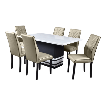 5ft Marble Dining Table Set 6 Seater (PMT01) Set Meja Makan Marble 6 Kerusi (Included Installation)