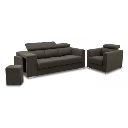 1 + 3 Seater Fabric Sofa (S3150) | Water Repellent Fabric | Adjustable Headrest (Delivery by Own Logistic)