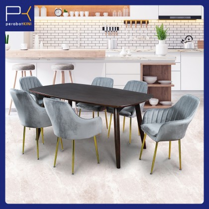 5ft Dining Table Set 6 Seater (SK-T1002) Set Meja Makan 6 Kerusi (Included Installation)
