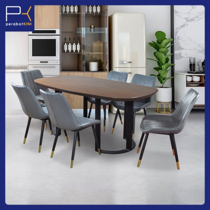 6ft Dining Table Set 6 Seater (Eclipse 6306) Set Meja Makan 6 Kerusi (Included Installation)