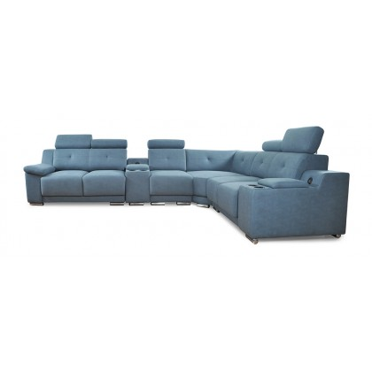 11ft Corner Fabric Sofa (2528-7L) with 2 USB Port | 4 Seater with Put Out Functions (Delivery by Own Logistic)